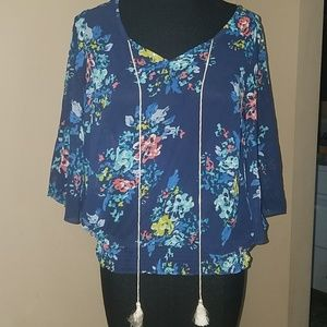 Ana blue floral sheer top size small